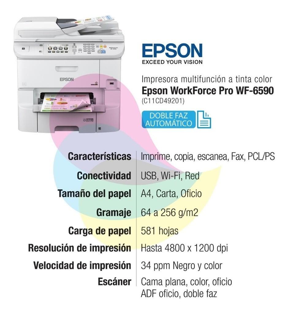 IMPRESORA MULTIFUNCION EPSON WORKFORCE PRO WF-6590 (C11CD49201)