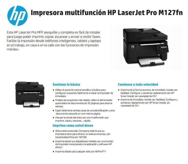 IMPRESORA HP M127FN LJ 21 PPM RED FAX CZ181A