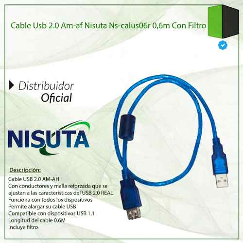 CABLE USB 2.0 ALARGUE M A H  0,6MTS MALLADO BULK CON FILTRO NS-CALUS06R NISUTA(NS-CALUS06R)