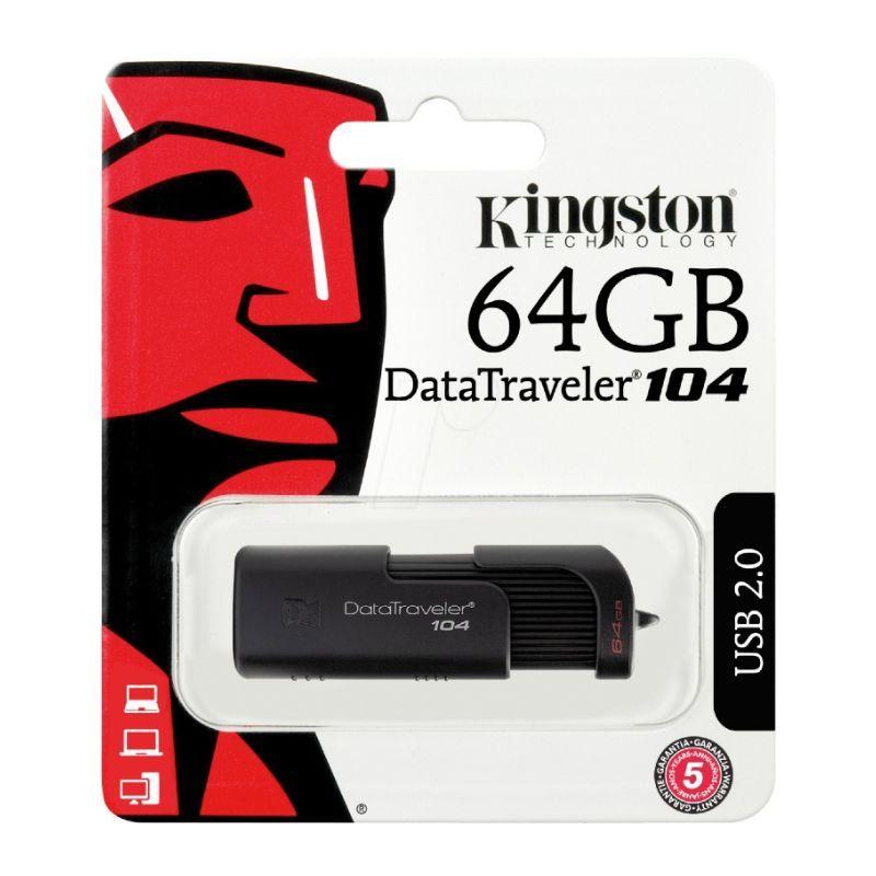 PENDRIVE 64GB 2.0 DT104 NEGRO KINGSTON (DT104/64GB)