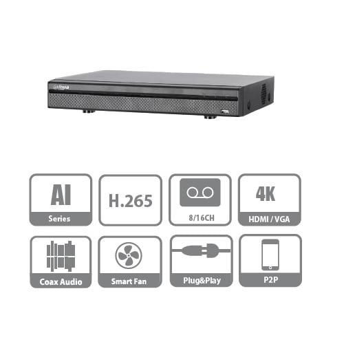 DVR/NVR CON PROTECCION PERIMETRAL AI 16+8 CH H.265+ 1HDD AUDIO BNC SMART CODEC IVS (XVR5116H-I)