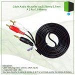 CABLE AUDIO STEREO 3.5 MM A 2 RCA 1.8 METROS NISUTA NS-CAU35
