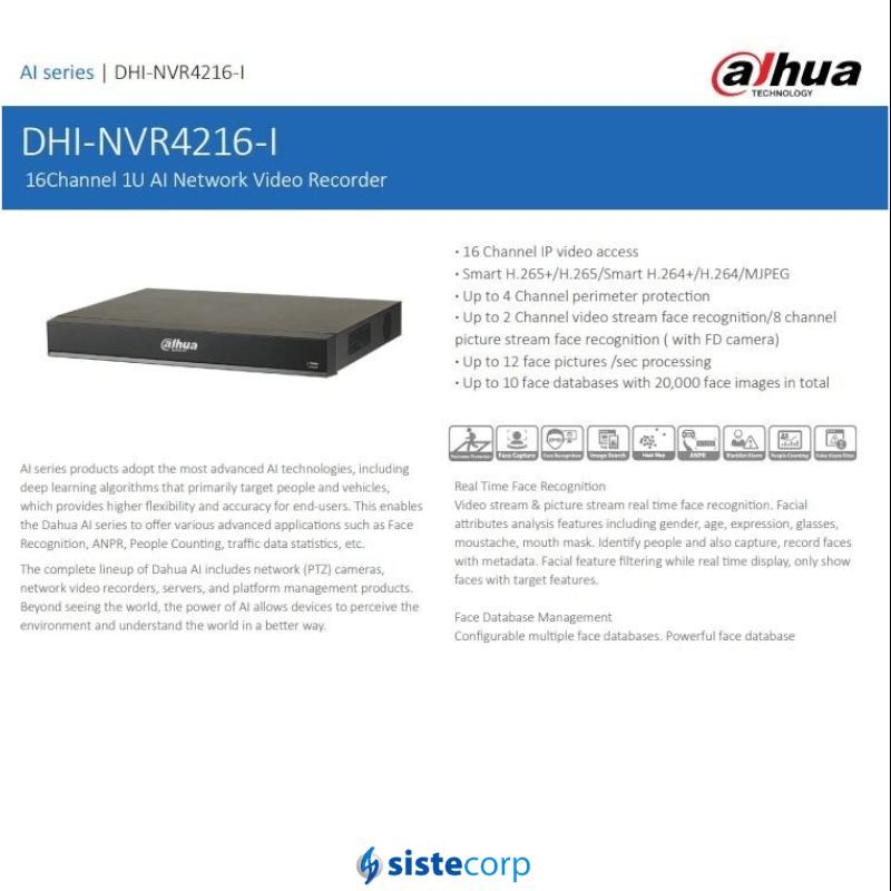 NVR 16CH 12MPX 2HDD H.265+ CON RECONOCIMIENTO FACIAL EN 2CH (NVR4216-I)